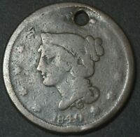 1840 BRAIDED HAIR CENT PENNY LARGE DATE