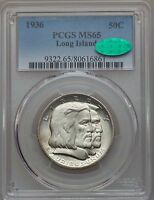 1936 LONG ISLAND TERCENTENARY HALF DOLLAR PCGS MS 65 CAC