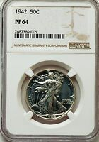 PF64 1942 WAKING LIBERTY HALF NGC WITH NICE CAMEO
