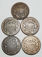 5 DIFFERENT 2 CENT 1864, 65, 66, 67, 68 INV 2207