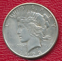 1923-S PEACE SILVER DOLLAR CHOICE ABOUT UNCIRCULATED SHIPS FREE