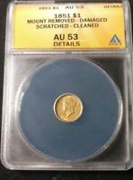 1851 TYPE 1 CORONET HEAD GOLD ONE DOLLAR COIN ANACS AU 53 DETAILS