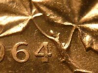1964 CANADA CENT DOUBLED DIE REVERSE  DDR  EXTRA BUD MINT STATE RED