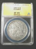 CIRCULATED 1897-O MORGAN SILVER DOLLAR GRADED BY ANACS AS EF-45 DETAILS-CLEANED