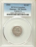 1800 DRAPED BUST HALF DIME H10C LIBEKTY PCGS EXTRA FINE  DETAILS V-2, LM-3, R.4
