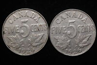 1926 CANADA. 5 CENTS. TWO COINS.