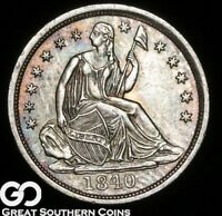 1840 SEATED LIBERTY HALF DIME, NO DRAPERY, TOUGH CHOICE UNCIRCULATED BETTER DATE