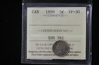 1898 CANADA. 5 CENTS. ICCS GRADED VF 30.  XDS761