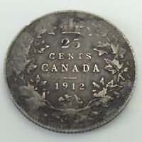 1912 CANADA 25 TWENTY FIVE CENTS QUARTER SILVER CANADIAN CIRCULATED COIN F319
