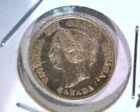 1871 CANADA SILVER 5 CENTS COIN KM2 TONED AU   .0346 ASW