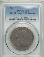 1803 DRAPED BUST HALF DOLLAR 50C LARGE 3  PCGS F12