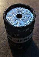 1994 DENMARK 5 KRONER CENTER HOLE 3 CROWN COINS IN NEW UNC ROLL OF 20 KM 869.1