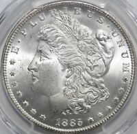 1885-CC MORGAN SILVER DOLLAR PCGS MINT STATE 65 VAM-3 CC TILTED LEFT