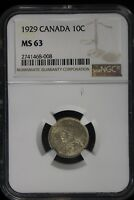 1929 CANADA. 10 CENTS. NGC GRADED MS 63