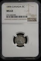 1896 CANADA. 5 CENTS. NGC GRADED MS 63.