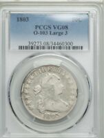 1803 50C LARGE 3 O-103  DRAPED BUST HALF DOLLAR  PCGS VG 08