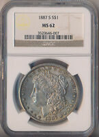 1887-S MORGAN SILVER DOLLAR NGC CERTIFIED MINT STATE 62 SHIPS FREE