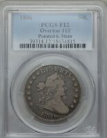 1806 50C POINTED 6, STEM OVERTON 113 DRAPED BUST HALF DOLLAR PCGS F12