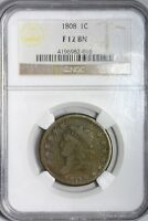 1808 CLASSIC HEAD LARGE CENT PENNY 1C NGC F 12 BROWN SOLID ORIGINAL COIN