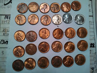 ONE LOT OF 30 ABOUT UNCIRCULATEDAU LINCOLN WHEAT CENTS. 1940-P TO 1949-S.