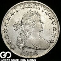 1806 DRAPED BUST HALF DOLLAR,   THIS , CHOICE EXTRA FINE /AU SILVER TYPE