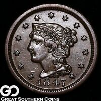 1847 LARGE CENT, BRAIDED HAIR,  CHOICE AU/UNC EARLY COPPER