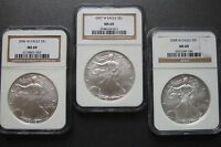 2006 W   2007 W   2008 W   SILVER EAGLE   3 COIN SET  BURNISHED  ALL  NGC MINT STATE 69