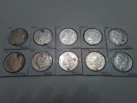 LOT OF 10 MORGAN 90 SILVER DOLLARS ASSORTED DATES