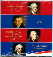 U.S.MINT 2007 P&D UNCIRCULATED PRESIDENTIAL DOLLAR SET -MINTSEALED