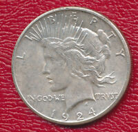 1924-S PEACE SILVER DOLLAR ABOUT UNCIRCULATED SHIPS FREE