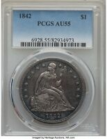 1842 SEATED LIBERTY SILVER DOLLAR $1 PCGS AU 55 ORIGINAL AND NICE