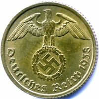 WW2 NAZI GERMAN BRASS 10 PFG COIN VG  CONDITION OWN A PIECE OF HISTORY
