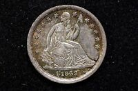 1839 10C STARS OBVERSE LIBERTY SEATED DIME CHOICE AU W/ COLORS
