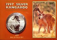 1997 $1 SILVER 1 OZ KANGAROO FROSTED UNC ON CARD..AS NEW.