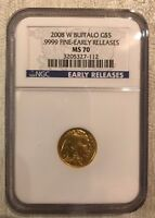 2008 W BURNISHED $5 GOLD BUFFALO 1/10 OZ. NGC MS70  LOW POP EARLY RELEASE