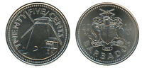 BARBADOS 25 CENTS 5.1 G NICKEL PLATED STEEL COIN 2011 KM  13A MINT WINDMILL