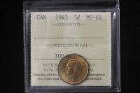 1943 CANADA. 5 CENTS. TOMBAC. ICCS GRADED MS 64.  XOD305