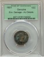 1801 DRAPED BUST DIME 10C JR-1 R.4 PCGS AU DETAILS, SUPER  GRADED THIS HIGH