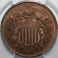 1871 2 CENTS PCGS MINT STATE 63RB CAC