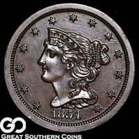 1854 HALF CENT, BRAIDED HAIR, GREAT STRIKE, HIGHLY SOUGHT AFTER THIS