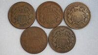 1864, 1865, 1866, 1867, 1868 2 CENT COPPER COINS LOT OF 5 - 2CENT