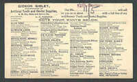 1904 GIDEON SIBLEY MFR DENTISTRY ARTIFICIAL TEETH & DENTISTS SUPPLIES SEE INFO