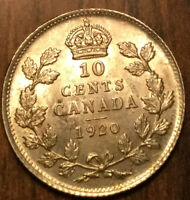 1920 CANADA SILVER 10 CENTS   UNCIRCULATED TO CHOICE