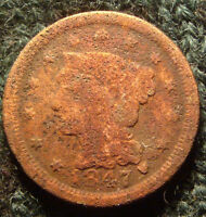 170 YEARS OLD UNIQUE PATINA 1847 BRAIDED HAIR LIBERTY HEAD LARGE CENT COIN 1C
