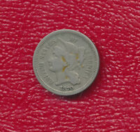 1870 THREE CENT NICKEL LY TONED TYPE COIN SHIPS FREE