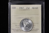 1967 CANADA. 25 CENTS. ICCS GRADED MS 65.  XQP635