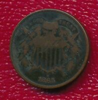 1865 COPPER TWO CENT PIECE INTERESTING CIVIL WAR TYPE COIN SHIPS FREE