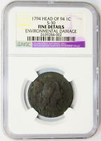 1794 HEAD 94 1C FLOWING HAIR LARGE CENT FINE DETAILS NGC US TYPE COIN KEY DATE