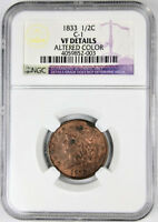 1833 1/2C HALF CENT VF DETAILS NGC CLASSIC HEAD US TYPE COIN ALTERED COLOR C-1