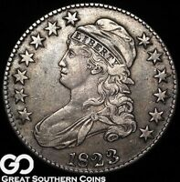 1823 CAPPED BUST HALF DOLLAR, TOUGH EARLY SILVER TYPE